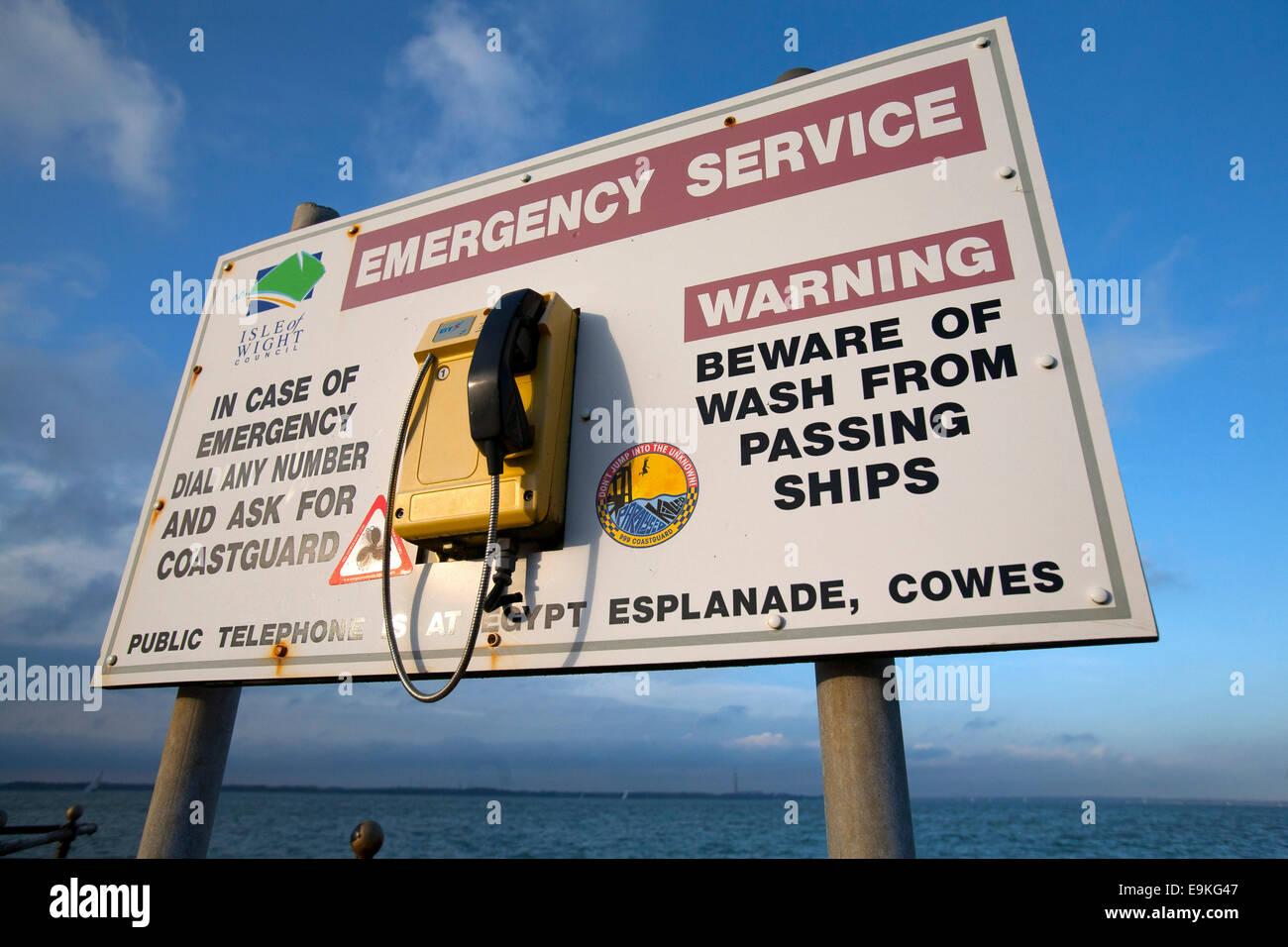 Council, warning, Coastguard, Emergency Service, phone, sign, Egypt Esplanade, Cowes, Isle of Wight, England, UK, Stock Photo