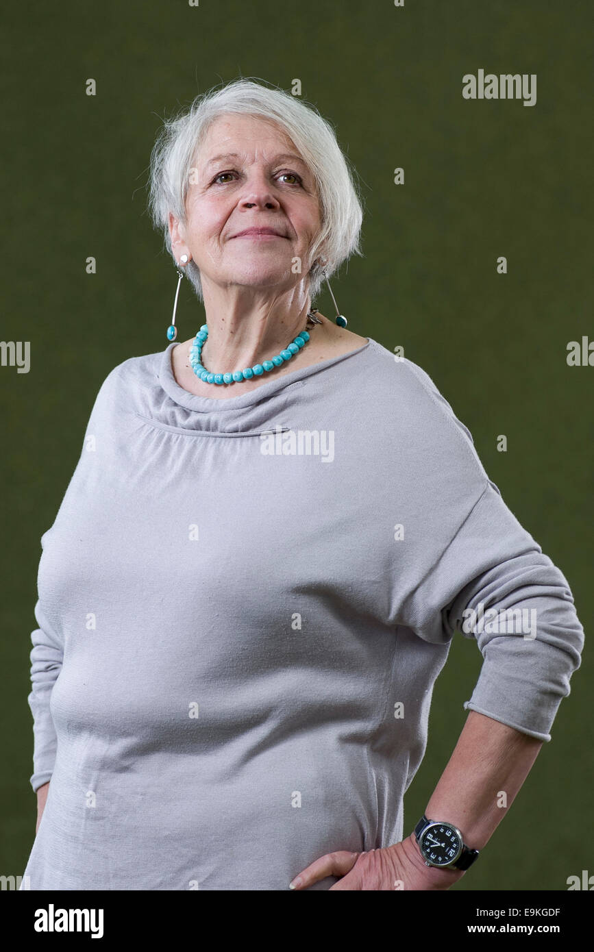 Scottish poet and dramatist Liz Lochhead appears at the Edinburgh International Book Festival. - Stock Image