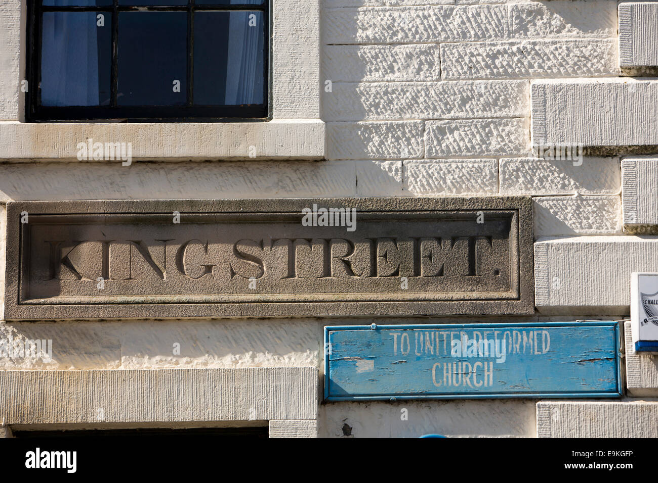 UK; County Durham; Barnard Castle; King Street; carved stone road name plate - Stock Image