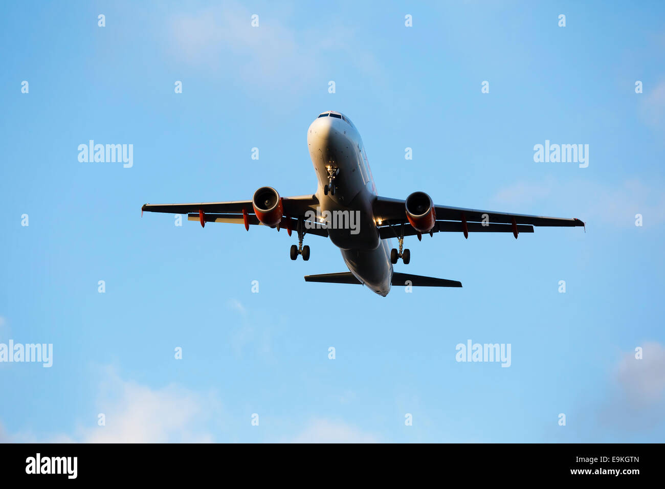 Airbus A320-214 G-EZTL Easyjet on approach to land at Manchester Airport - Stock Image