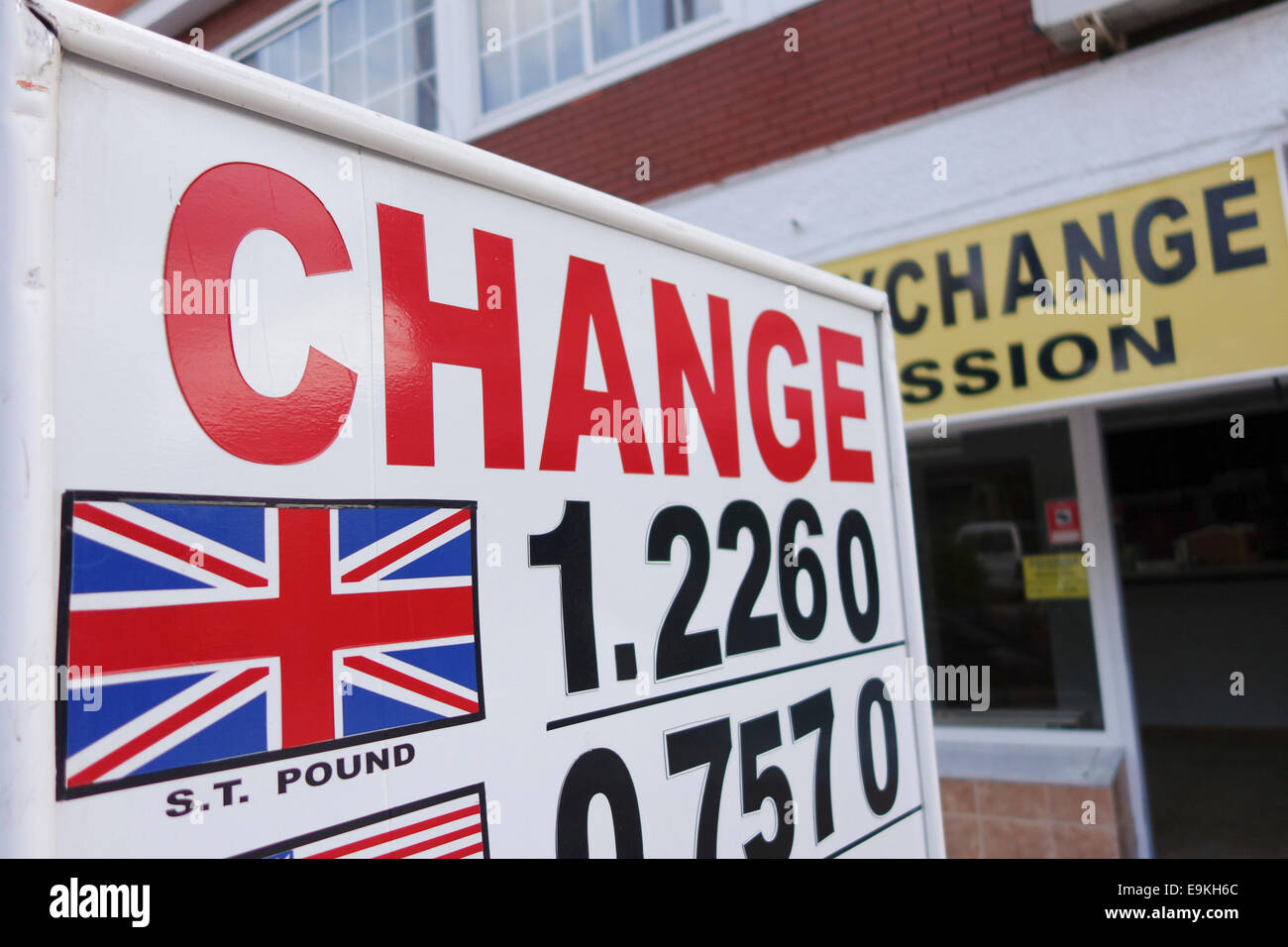 Sign with Foreign Exchange Rate in front of Currency