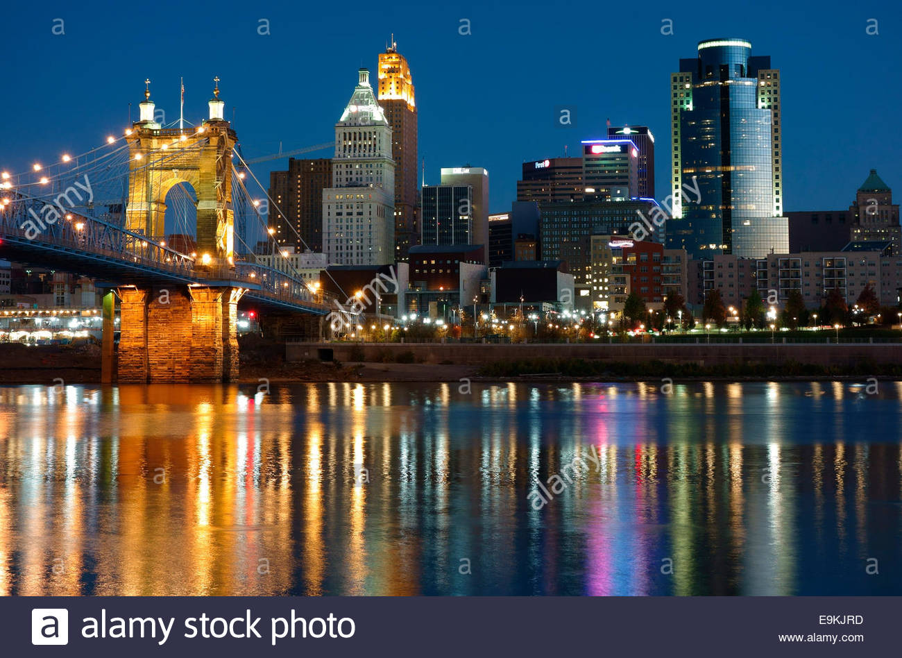 Twilight view of Cincinnati, Ohio, USA Stock Photo