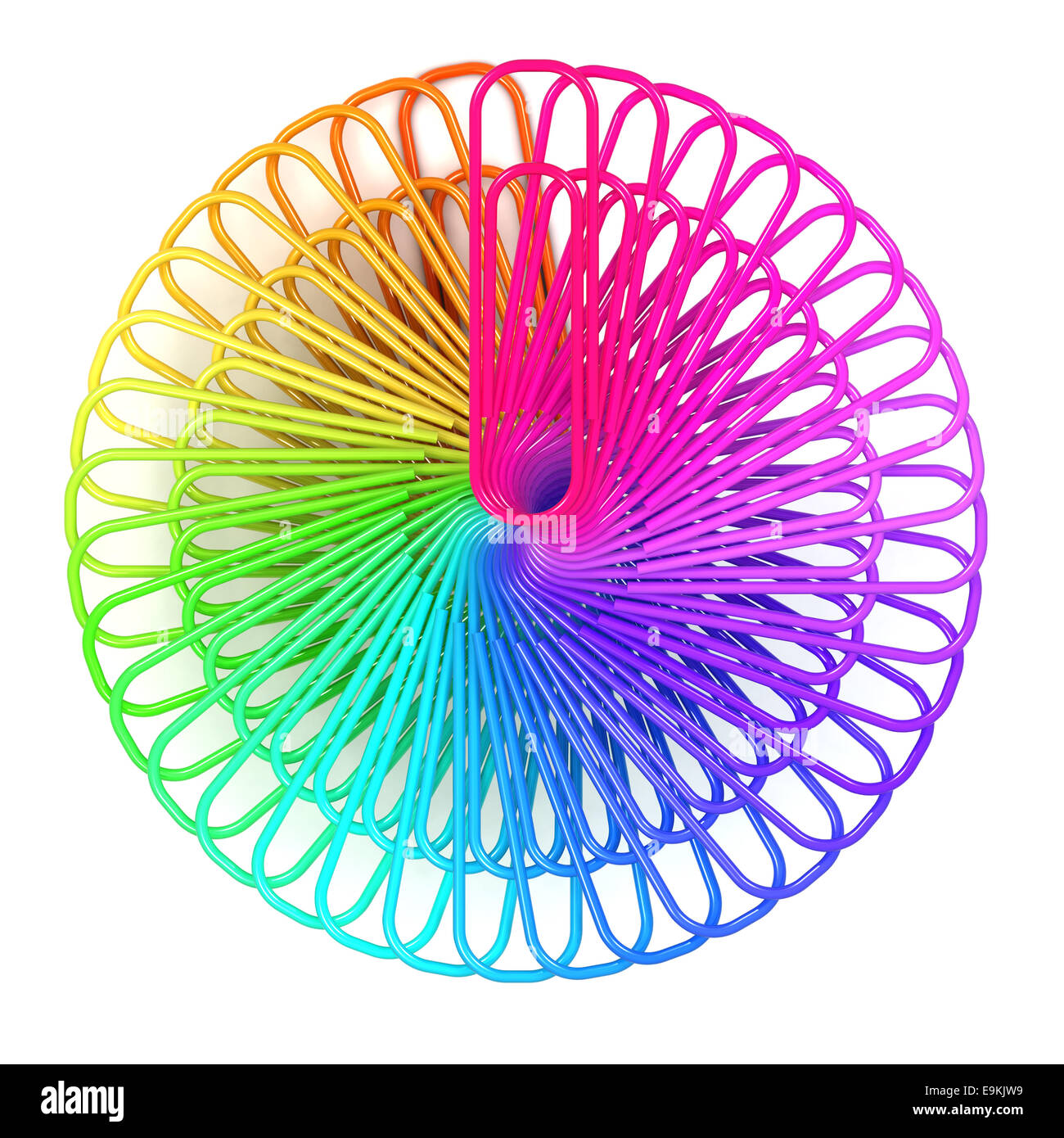 3d render of a radial arrangement of paperclips in a coloured spectrum - Stock Image