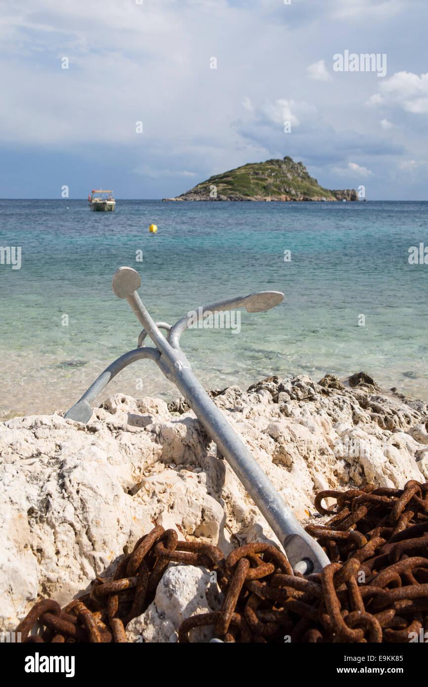 Anchor at a beach at Zakynthos (Zante) in Greece - Stock Image