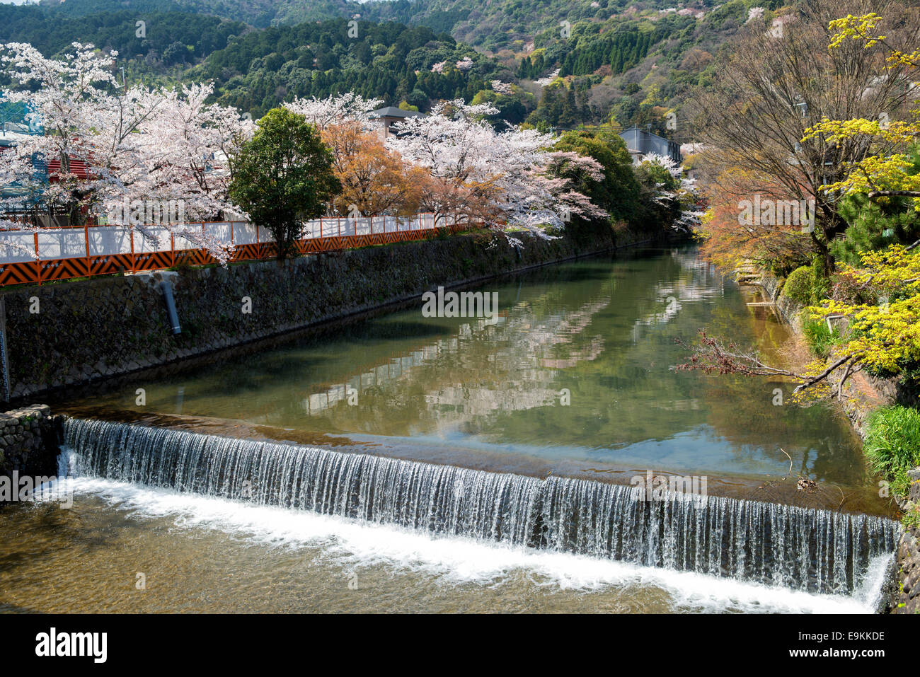 Spring in Japan - Arashiyama and Hozu river during cherry blossom in April - Stock Image