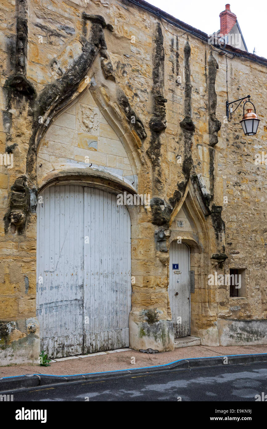 Medieval doorway in flamboyant Gothic style of the Ancienne Chambre des Comptes / Courts of Finances in the city - Stock Image