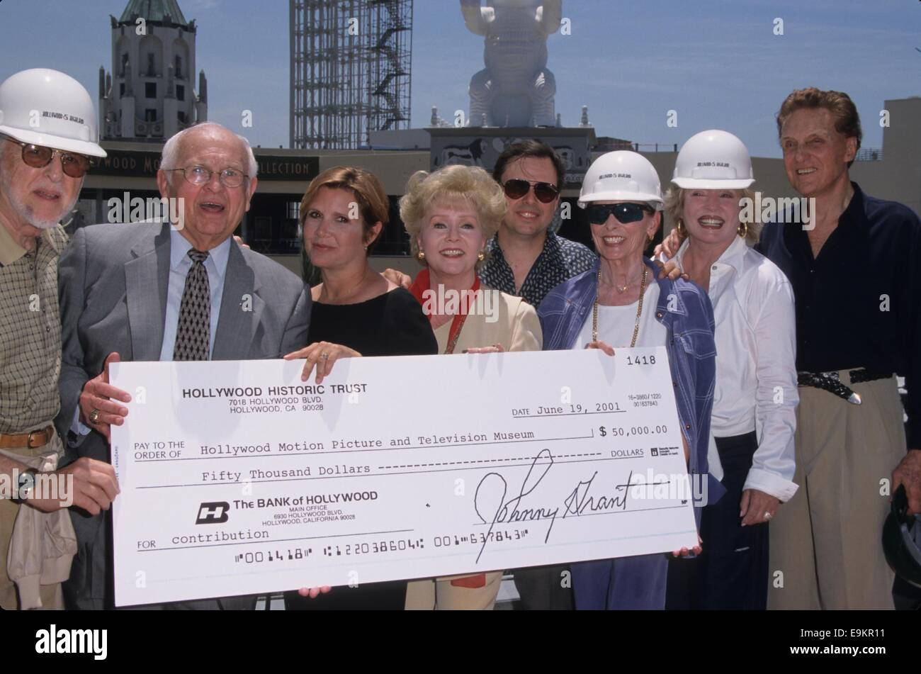 Ground-breaking of the new Hollywood Motion Picture Museum.David L. Wolper, Carrie Fisher, Debbie Reynolds, Tod - Stock Image
