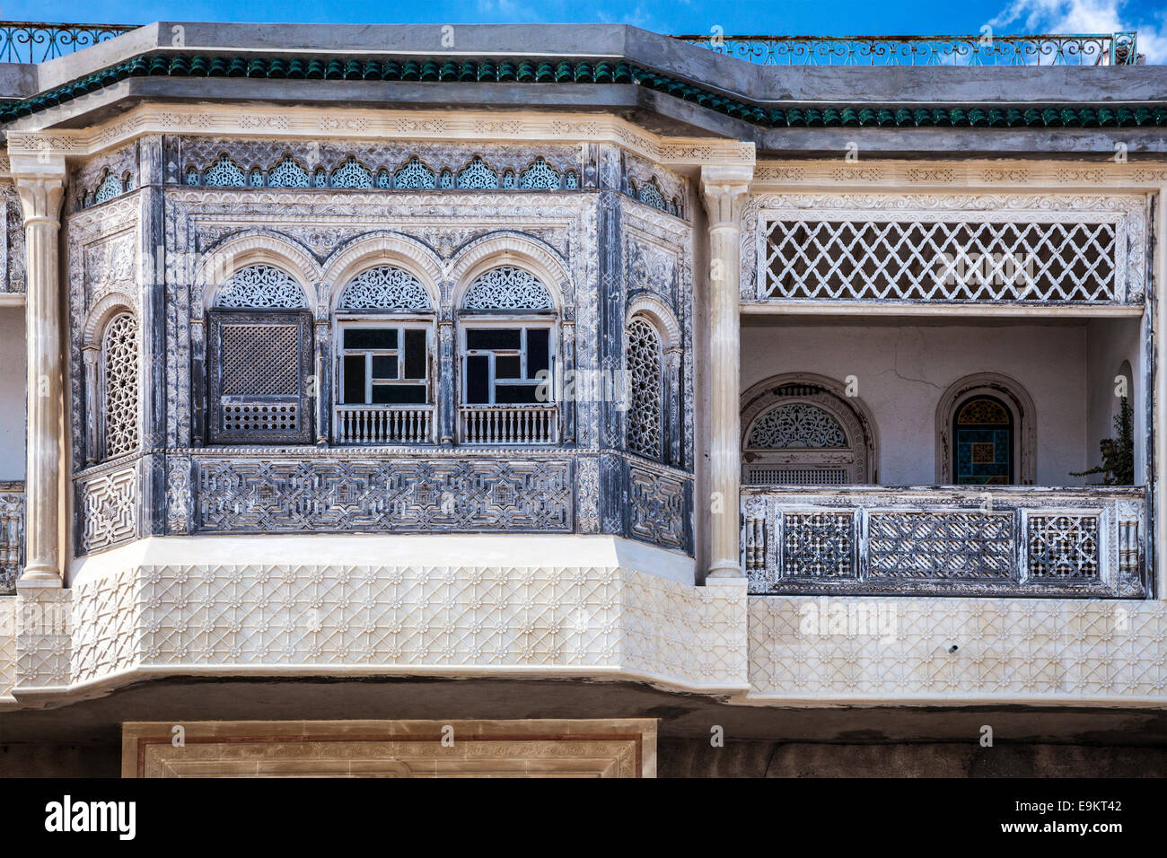 Ornate Carved Stucco Facade Of An Arabian House In Sousse,Tunisia.   Stock  Image