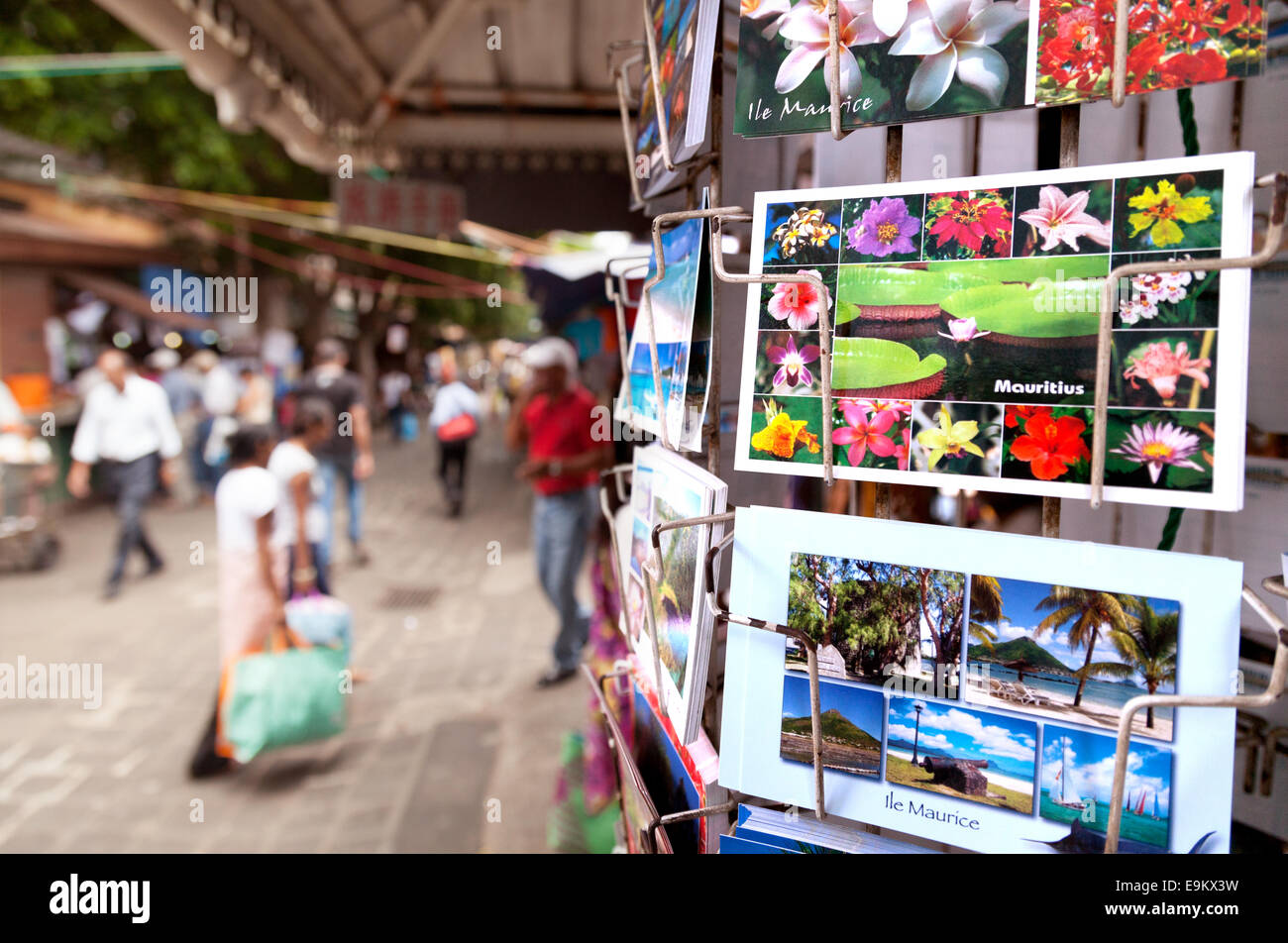 Mauritius postcards for sale, Port Louis, Mauritius Stock Photo