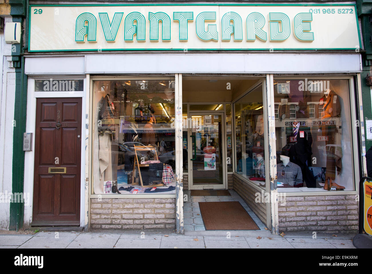 'Avantgarde' mens clothing store, Harlesden, Northwest London, England, UK - Stock Image