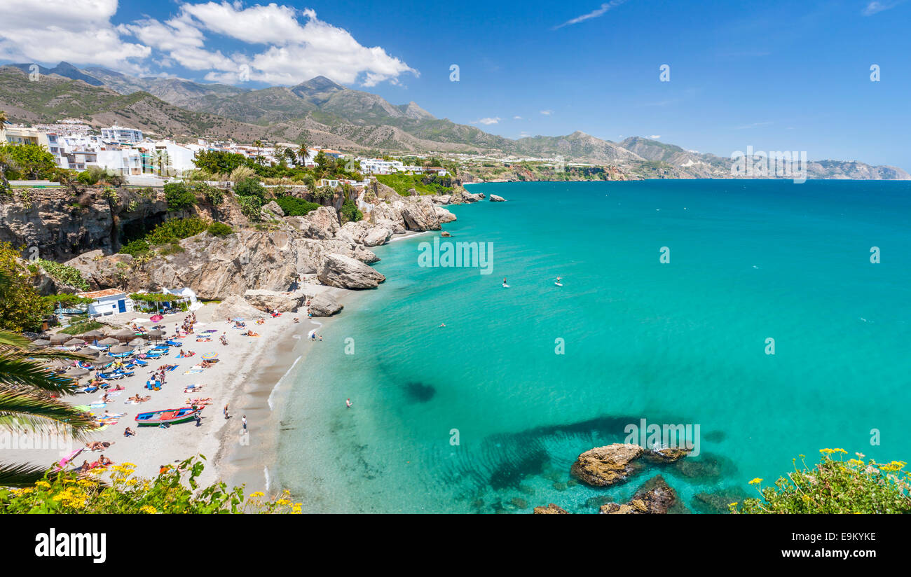 View of Playa Calahonda from the Balcon de Europa (Balcony of Europe), Nerja, Costa del Sol, Malaga province, Andalusia, - Stock Image