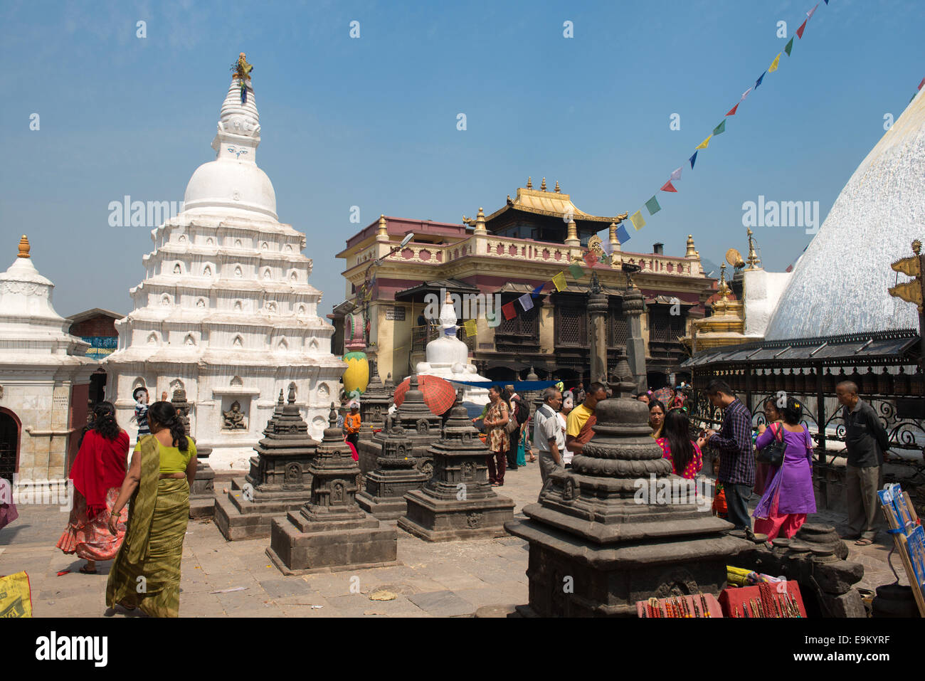 Drukpa Kagui Monastery in Swayambhunath religious complex aka Monkey Temple ancient religious complex, on the west - Stock Image