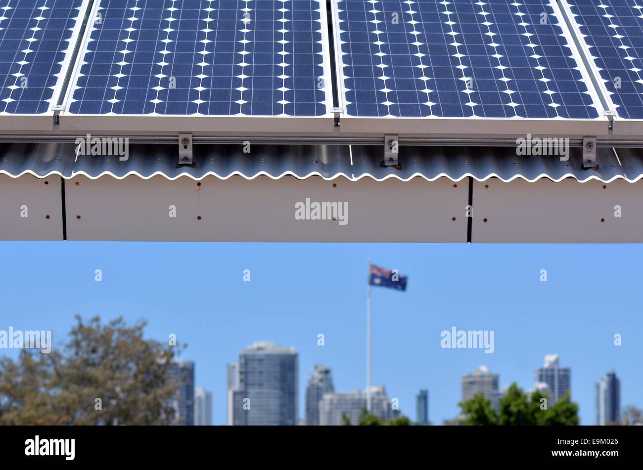 GOLD COAST- OCT 23 2014:Solar panels in Gold Coast, Australia. Solar power in Australia is a relatively recent phenomenon. - Stock Image