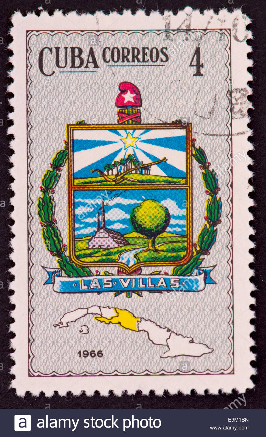 Las Villas Coat of Arms from the Collection of Cuban Coat of Arms, published by Cuba Correos in 1966. Cuba had six - Stock Image