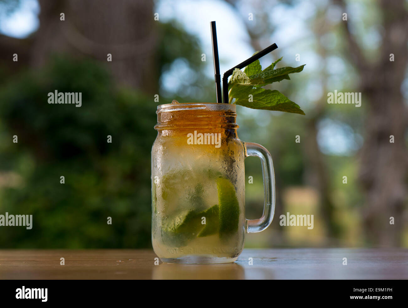 A mojito rum cocktail with a green background. - Stock Image