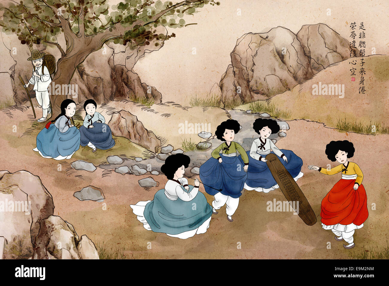 Korea Traditional Genre Painting Stock Photo: 74814592 - Alamy