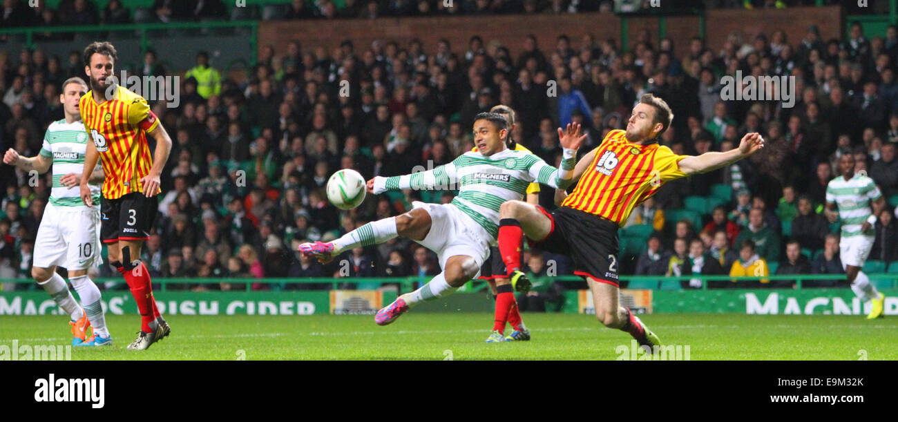 Glasgow, Scotland. 29th Oct, 2014. Scottish League Cup. Celtic versus Partick Thistle. Emilio Izaguirre volleys - Stock Image