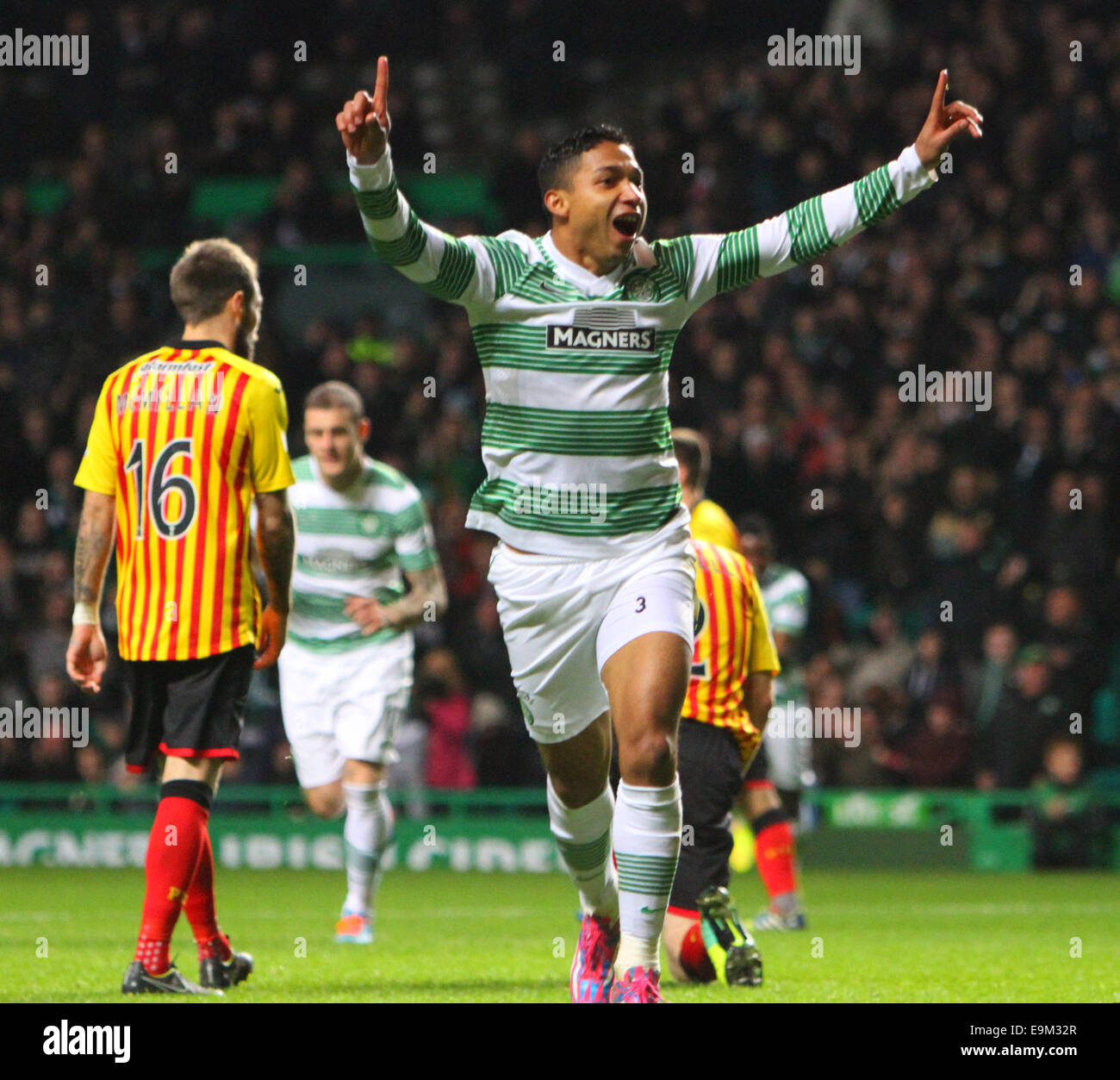 Glasgow, Scotland. 29th Oct, 2014. Scottish League Cup. Celtic versus Partick Thistle. Emilio Izaguirre celebrates - Stock Image