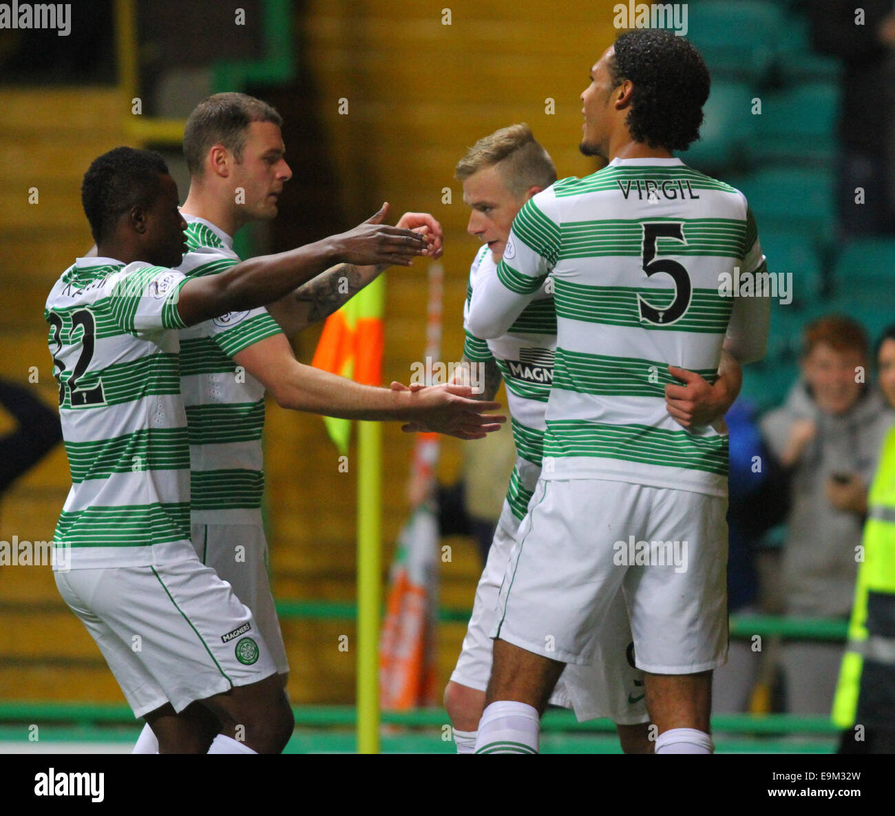 Glasgow, Scotland. 29th Oct, 2014. Scottish League Cup. Celtic versus Partick Thistle. John Guidetti celebrates - Stock Image