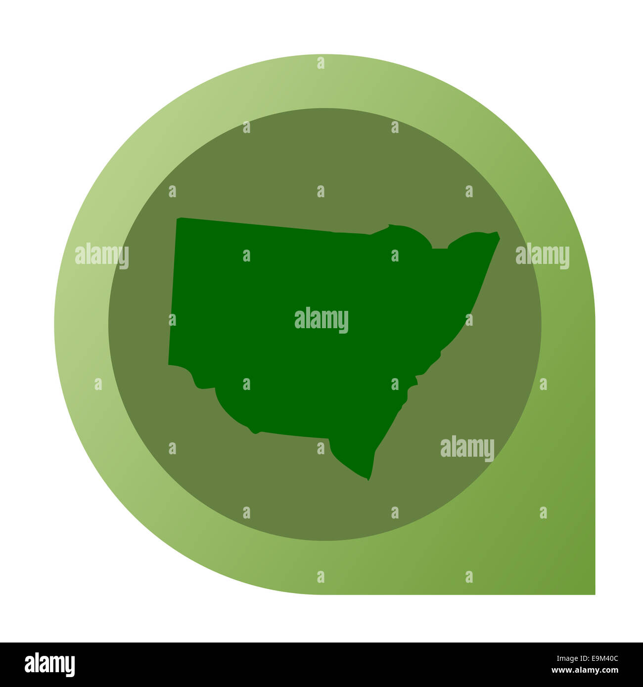 Isolated New South Wales map marker pin in flat web design style. - Stock Image