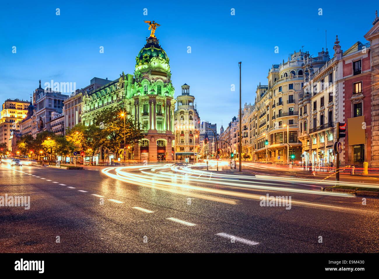Madrid, Spain cityscape on Gran Via at twilight. - Stock Image