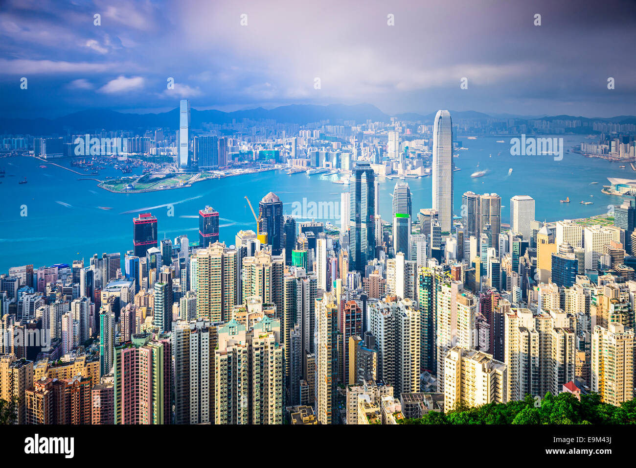 Hong Kong, China city skyline from the Peak. Stock Photo