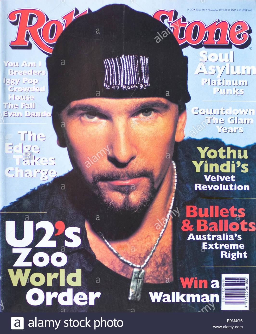 Rolling Stone Magazine February 1993 - U2, The Edge - Stock Image