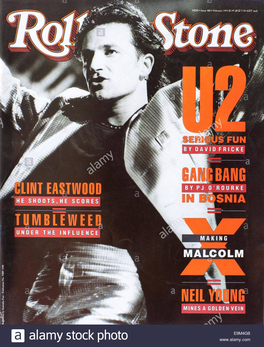 The cover of Rolling Stone Magazine (Australia) February 1993 Featuring Bono from U2 - Stock Image