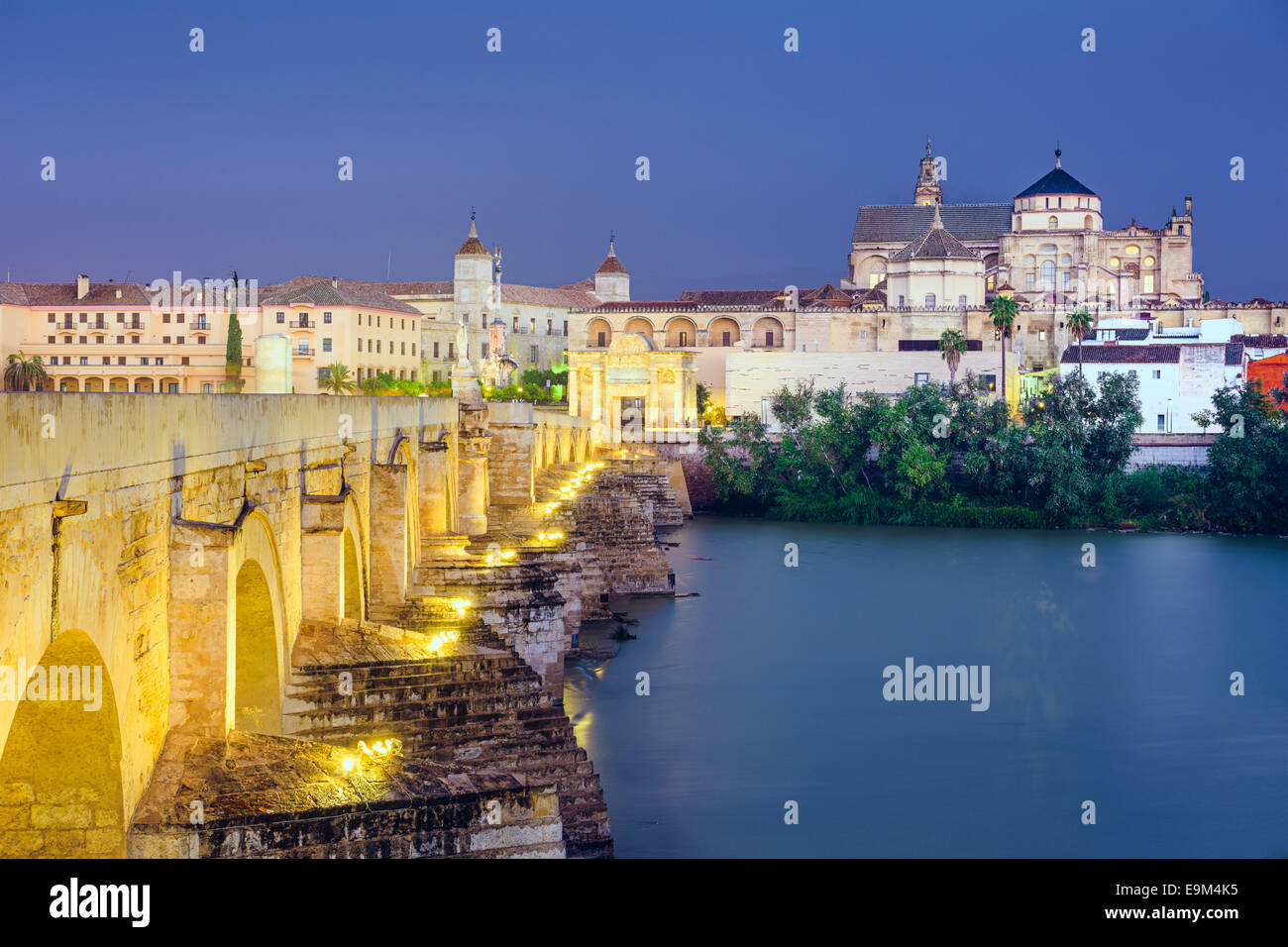 Cordoba, Spain view of the Roman Bridge and Mosque-Cathedral on the Guadalquivir River. - Stock Image