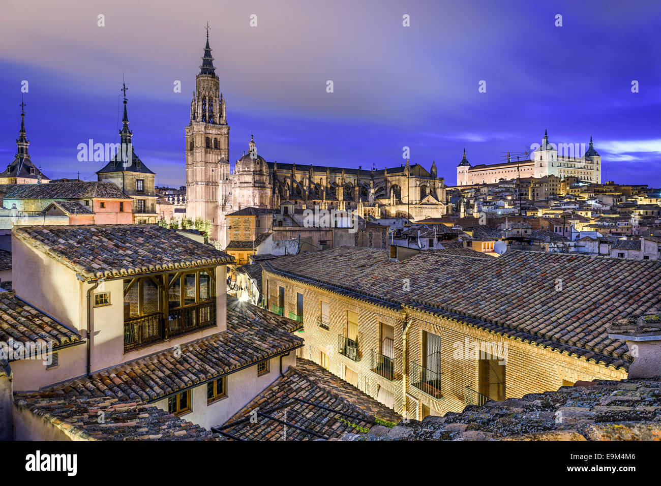 Toledo, Spain town skyline with the Cathedral and Alcazar in the early morning. Stock Photo
