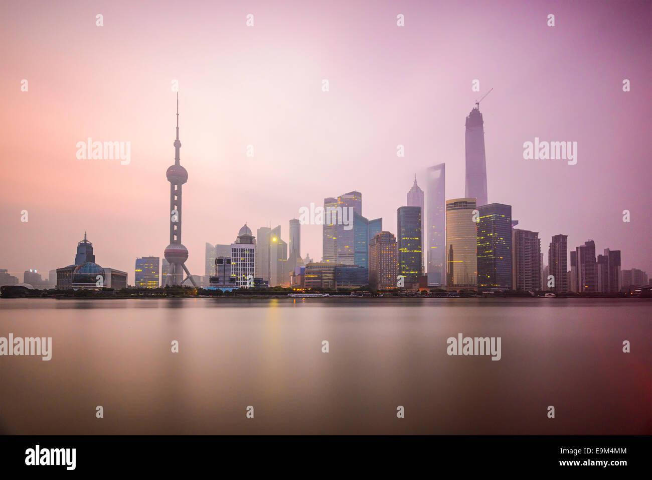 Shanghai, China city skyline on the Huangpu River. Stock Photo