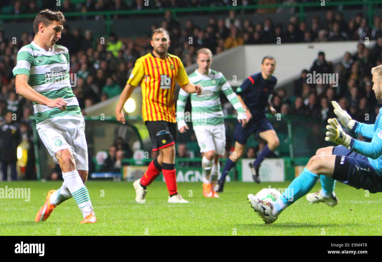 Glasgow, Scotland. 29th Oct, 2014. Scottish League Cup. Celtic versus Partick Thistle. Stefan Scepovic's shot - Stock Image