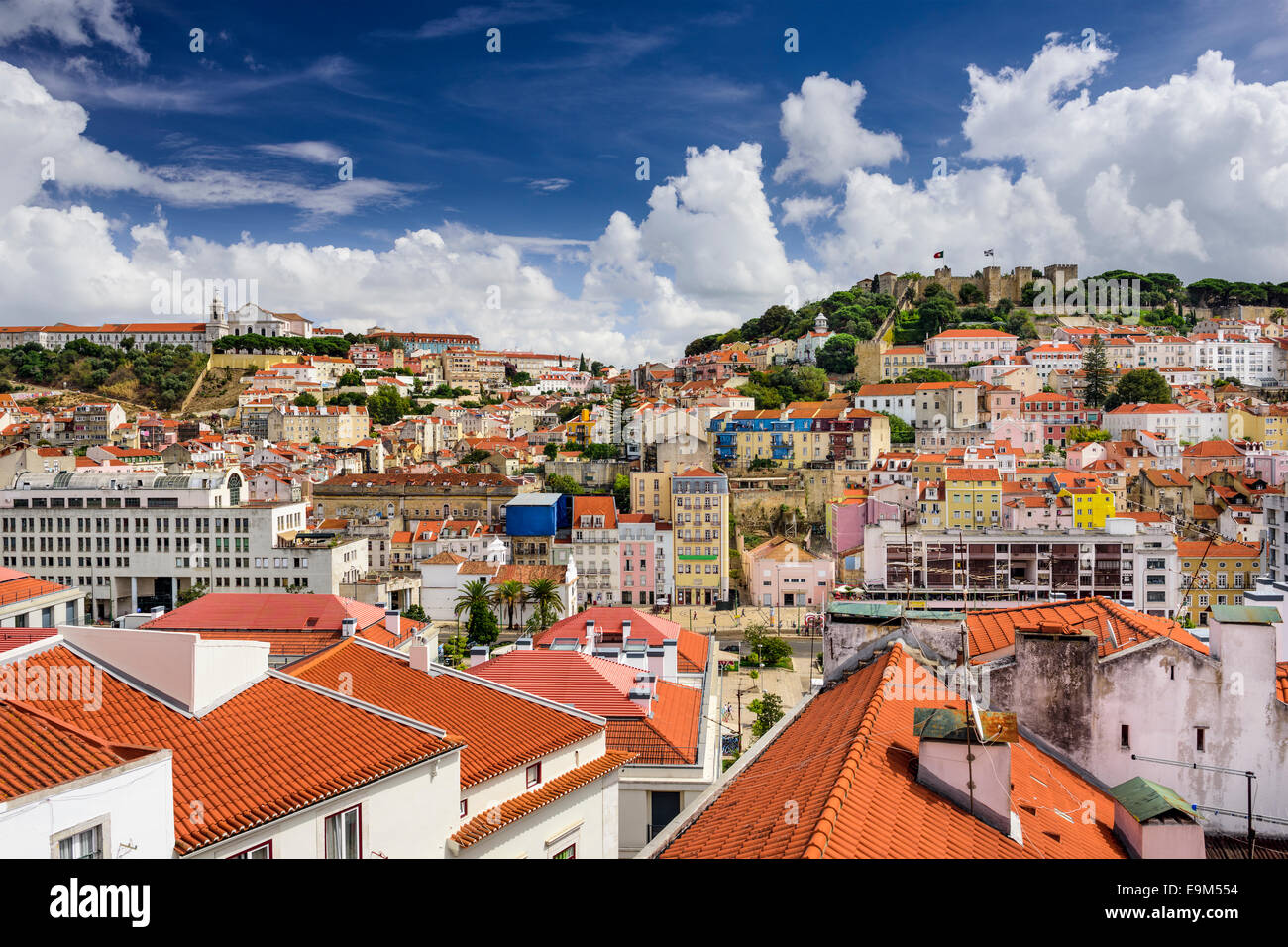 Lisbon, Portugal skyline at Sao Jorge Castle and Graca District. - Stock Image