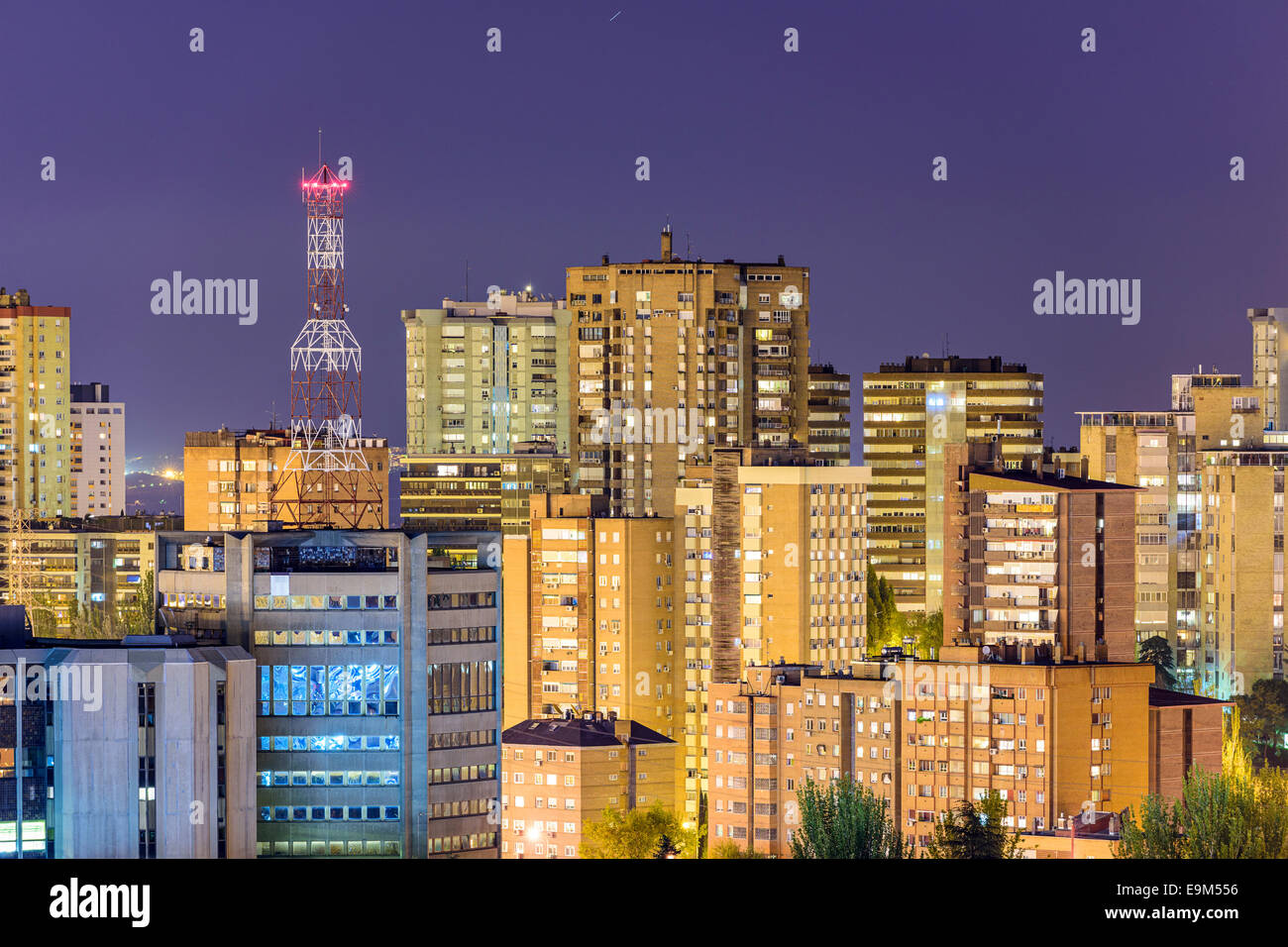 Madrid, Spain cityscape of residential and office high rises. - Stock Image