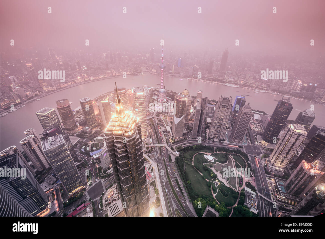 Shanghai, China City Skyline view over the Pudong Financial District. Stock Photo