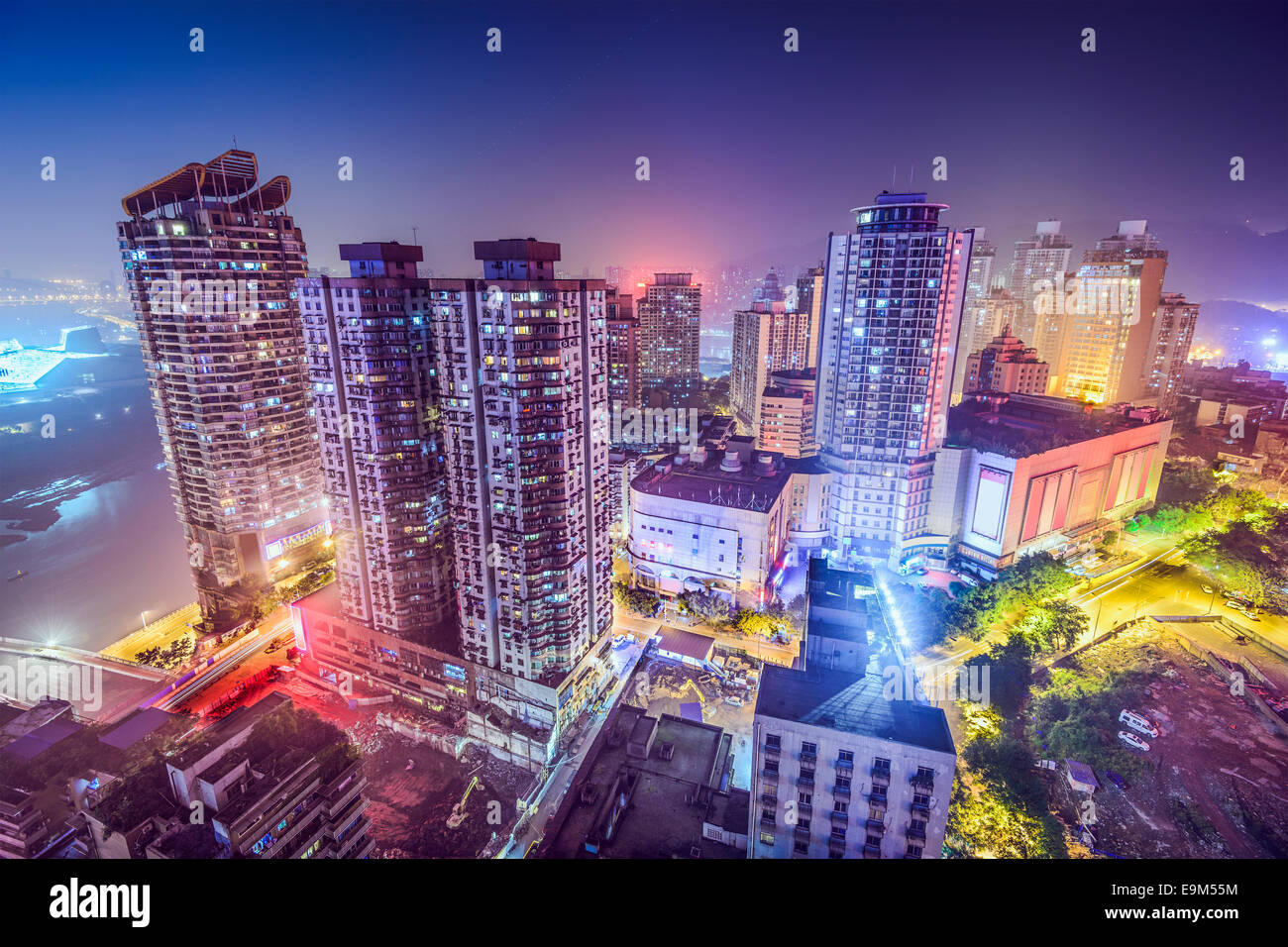 Chongqing, China nighttime cityscape in the Jiefangbei District. - Stock Image