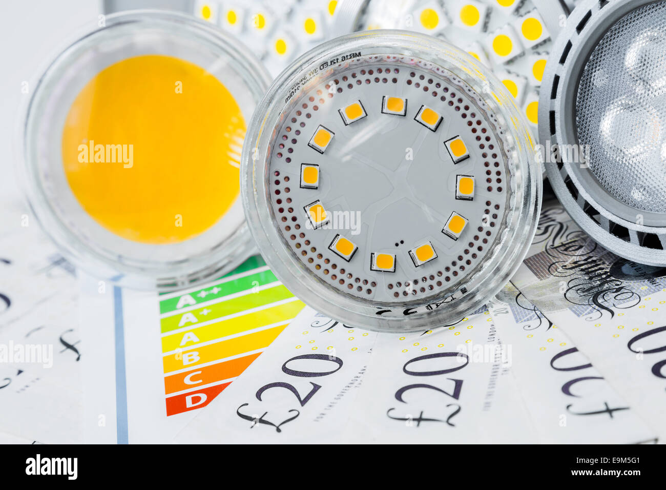 various GU10 and MR16 LED bulbs on energy efficiency rating and on saved money - Stock Image