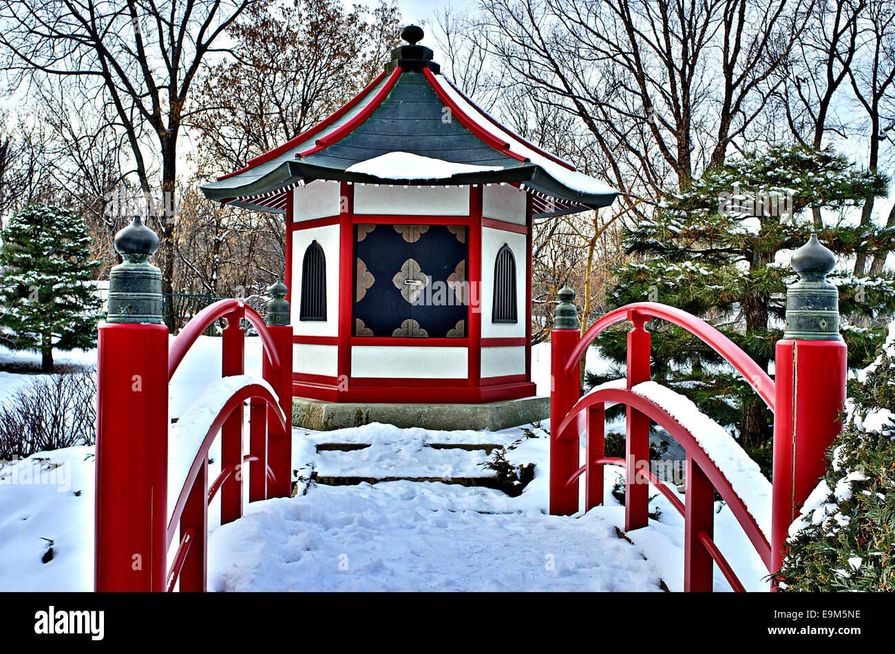 Shrine in Japanese Garden - Stock Image
