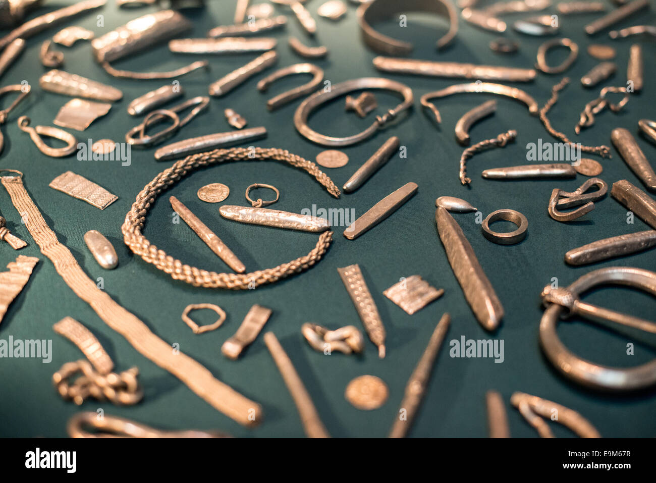 LONDON, UK - Known as the The Cuerdale Hoard, this collection of Viking silver is on display in the British Museum Stock Photo
