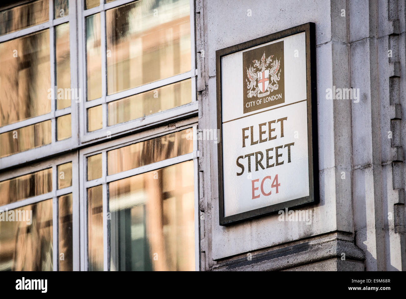 LONDON, UK - Signs marking Fleet Street in London, the traditional location of the UK's newspapers and media - Stock Image