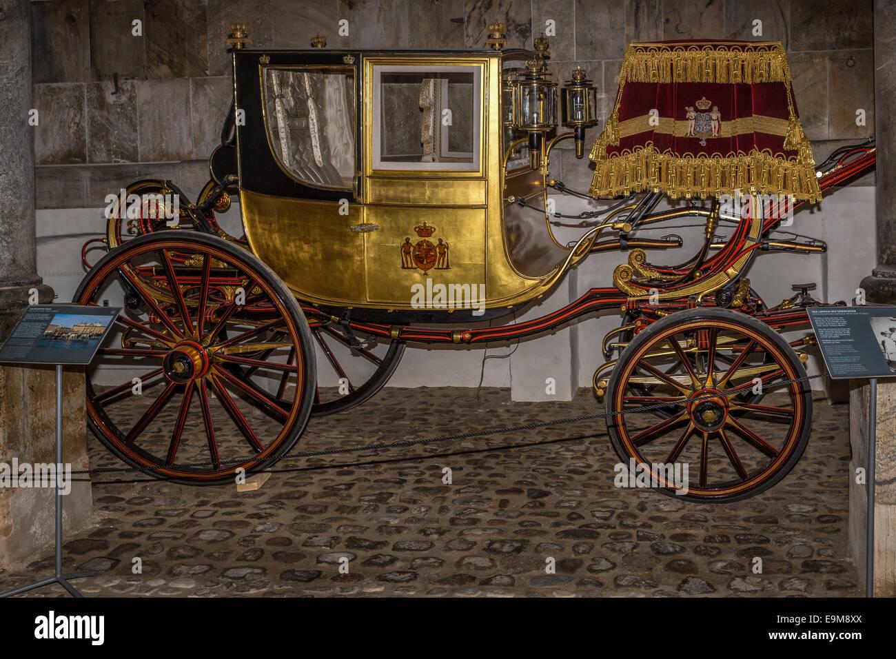 The Royal Gold Coach, Royal Stables, Christiansborg, Copenhagen, Denmark - Stock Image