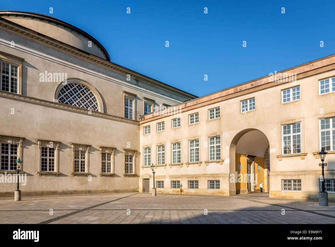 Prince Jørgens Courtyard, Christiansborg Castle and The Palace Chapel behind, Copenhagen, Denmark - Stock Image