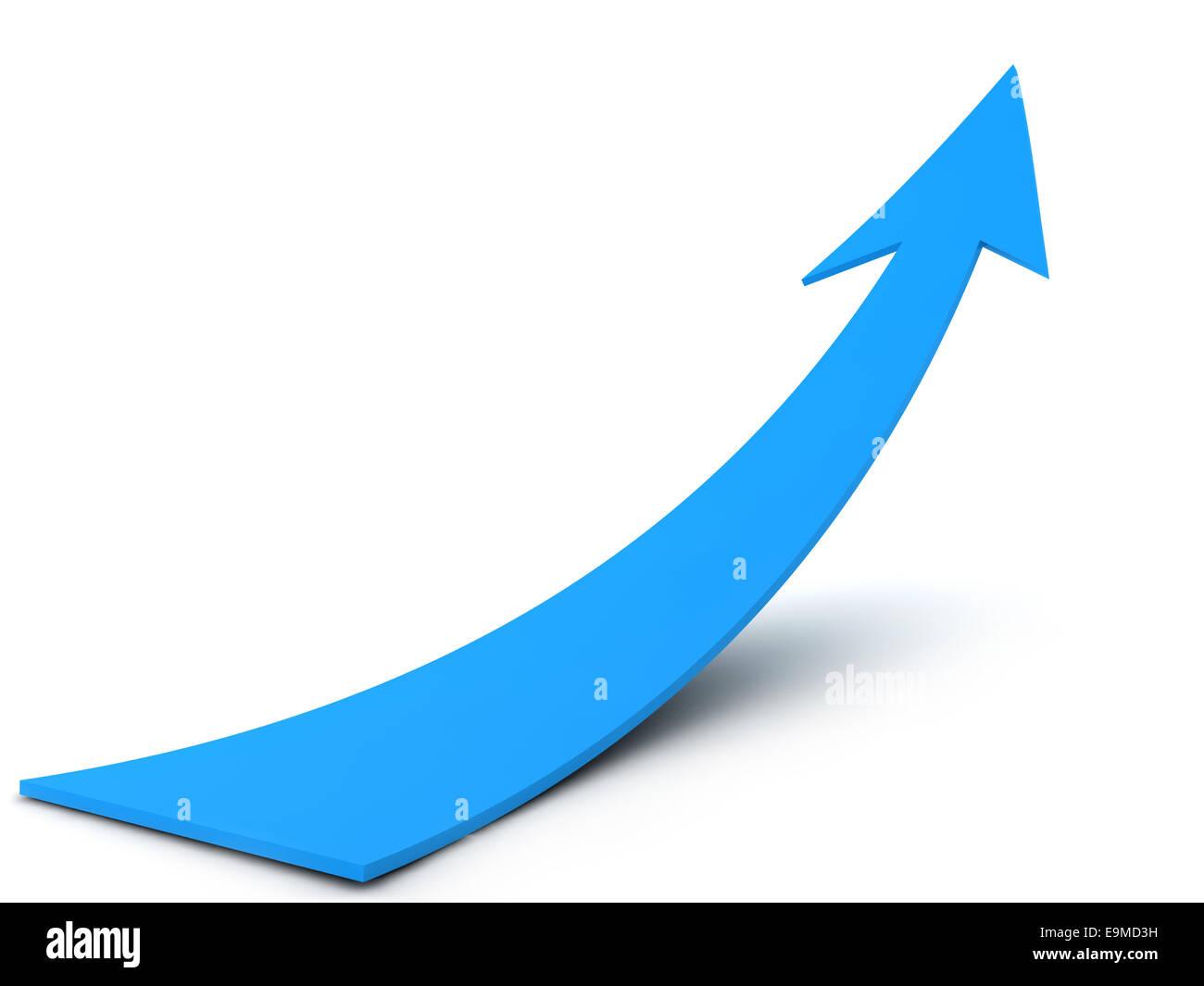 blue arrow Sign isolated on white background.digitally generated image. - Stock Image