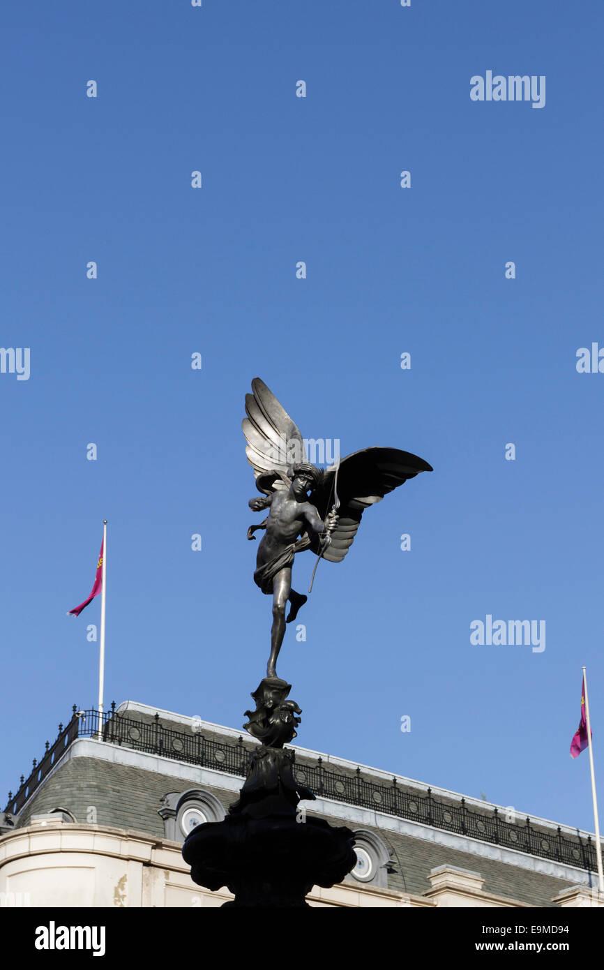 Statue of Eros, Piccadilly, London, England, UK - Stock Image