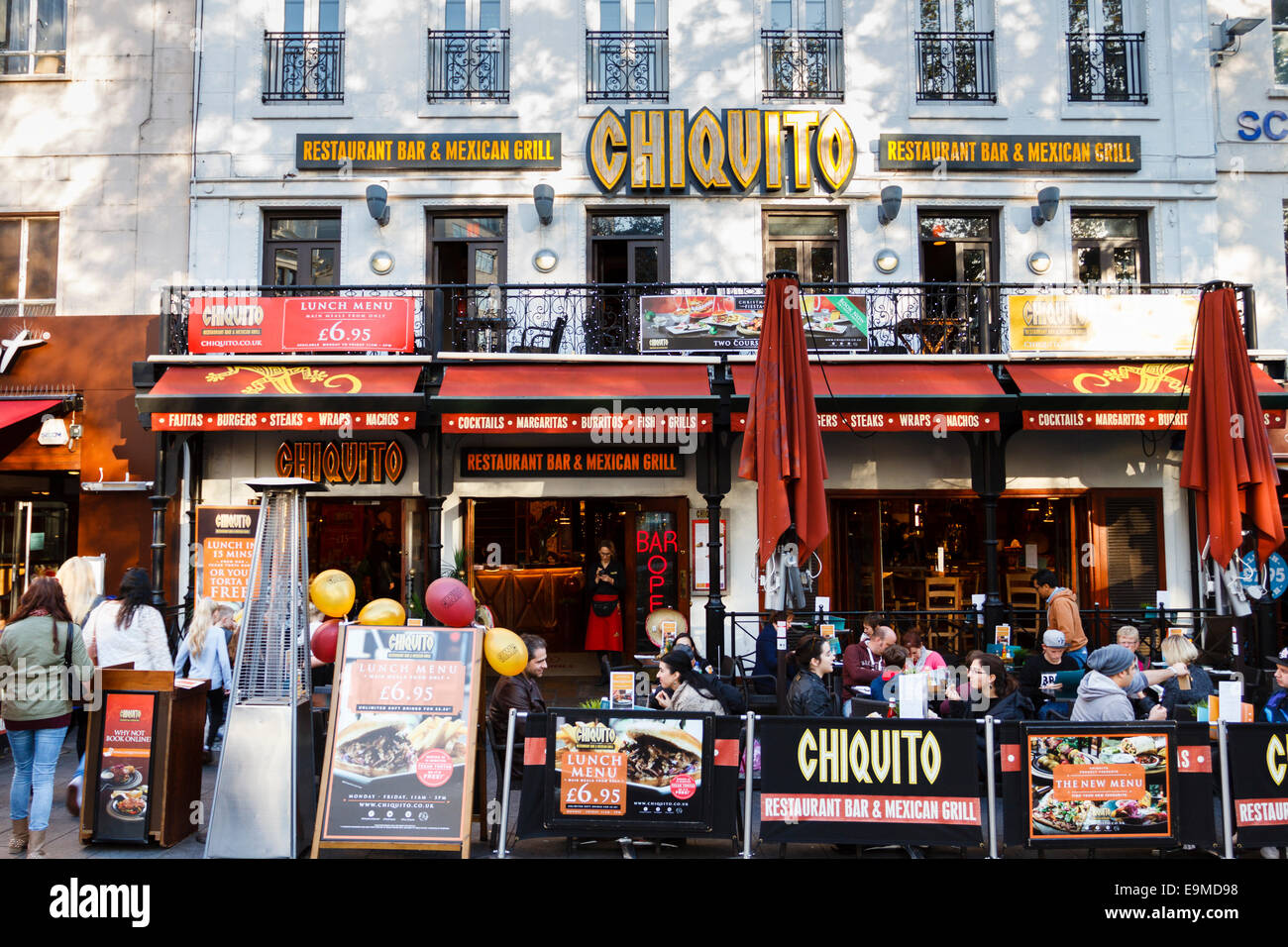 Chiquito mexican restaurant in Leicester Square, London, England, UK - Stock Image