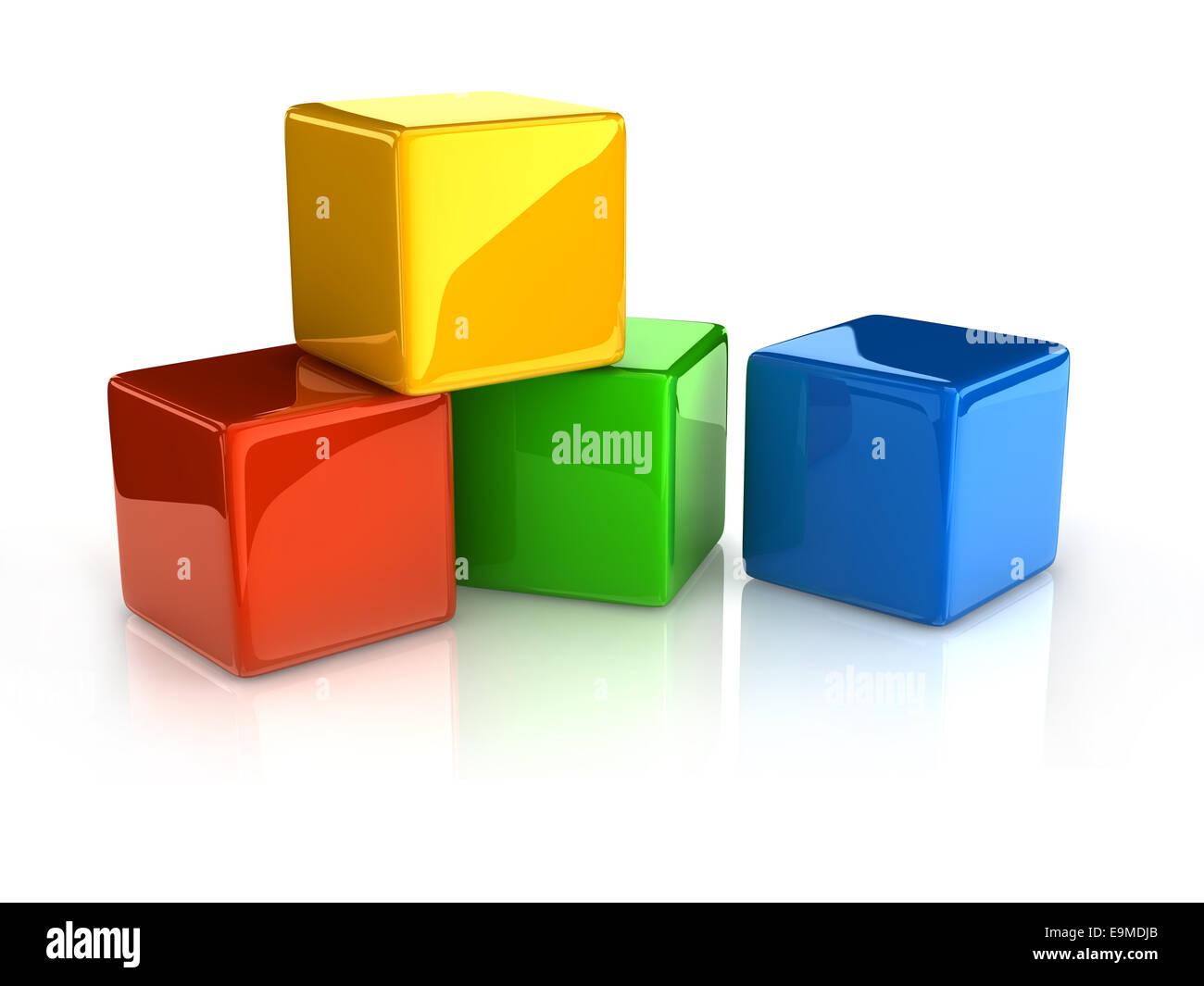 colorful cubes on white background.digitally generated image. - Stock Image