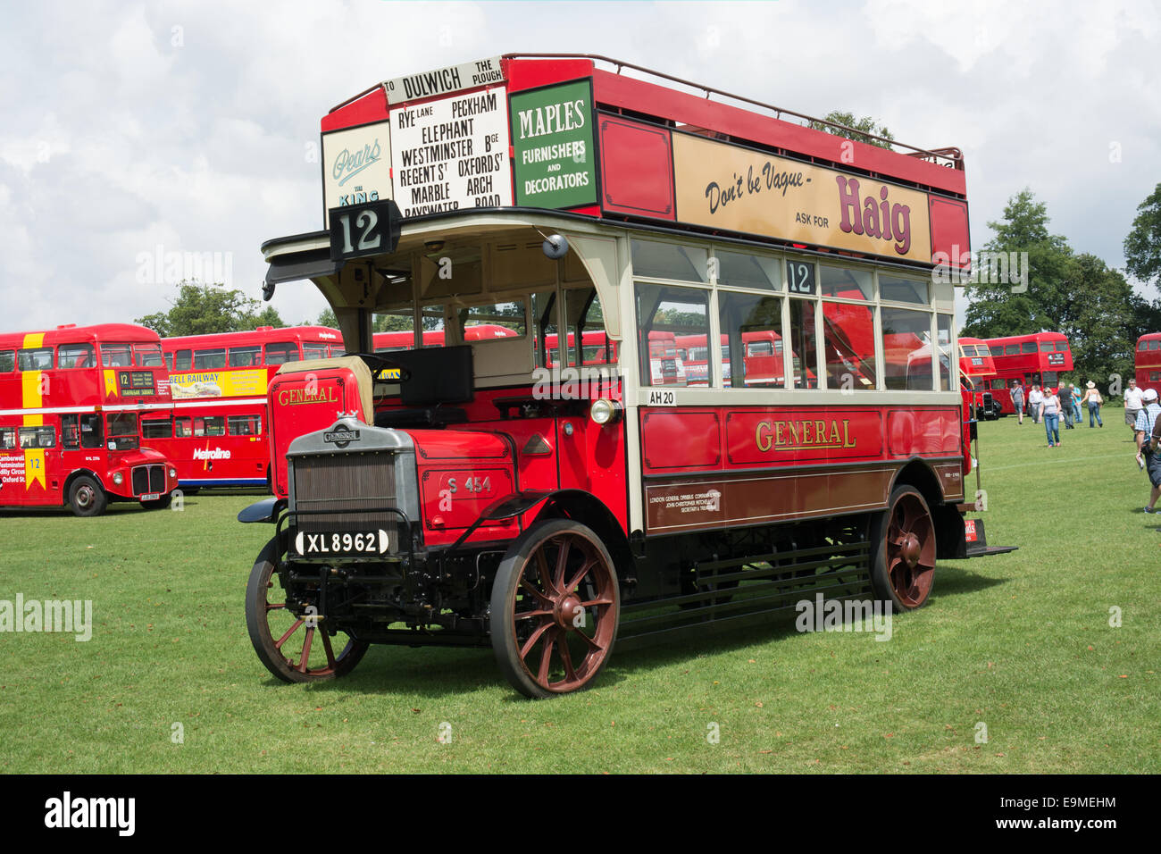 A preserved AEC S type on display at the 2014 Alton Bus Rally & Running day. The bus dates back to the 1920's. - Stock Image
