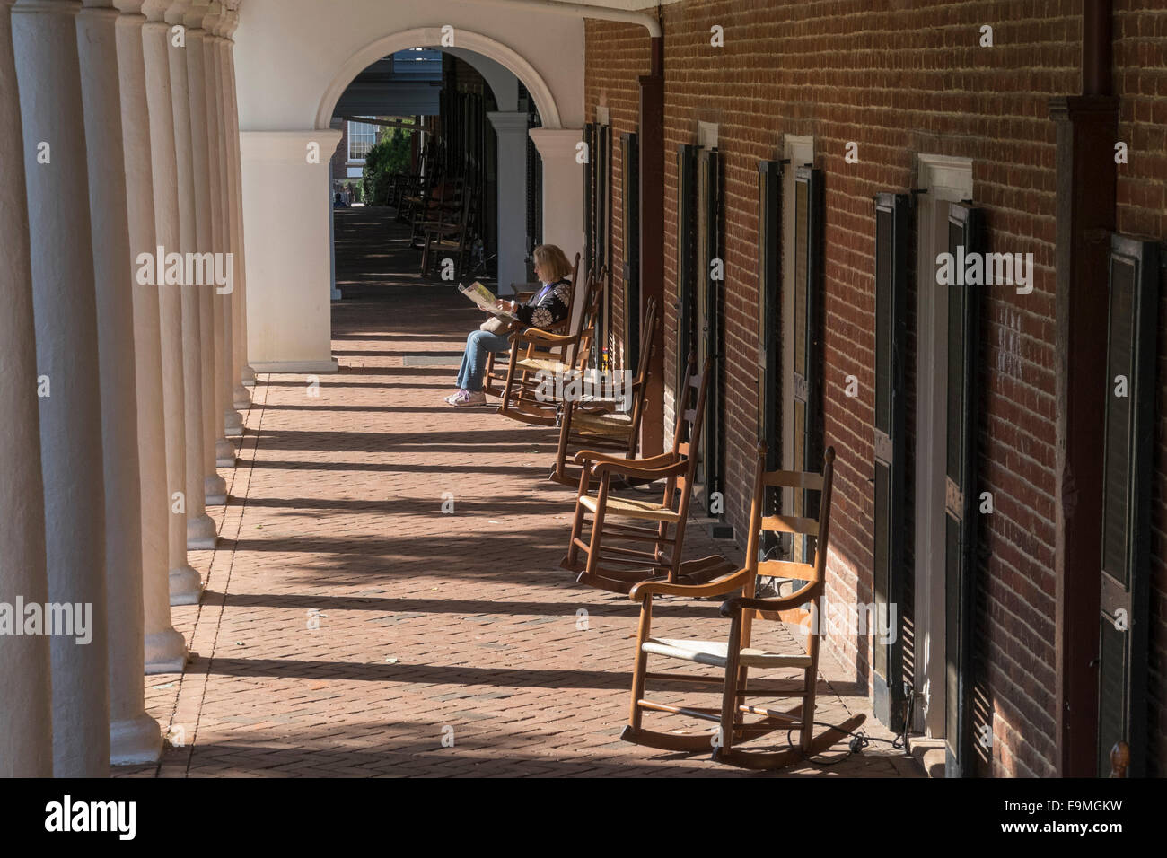 United States, Virginia, Albemarie County, Charlottesville, University of Virginia, dormitory designed by Thomas - Stock Image