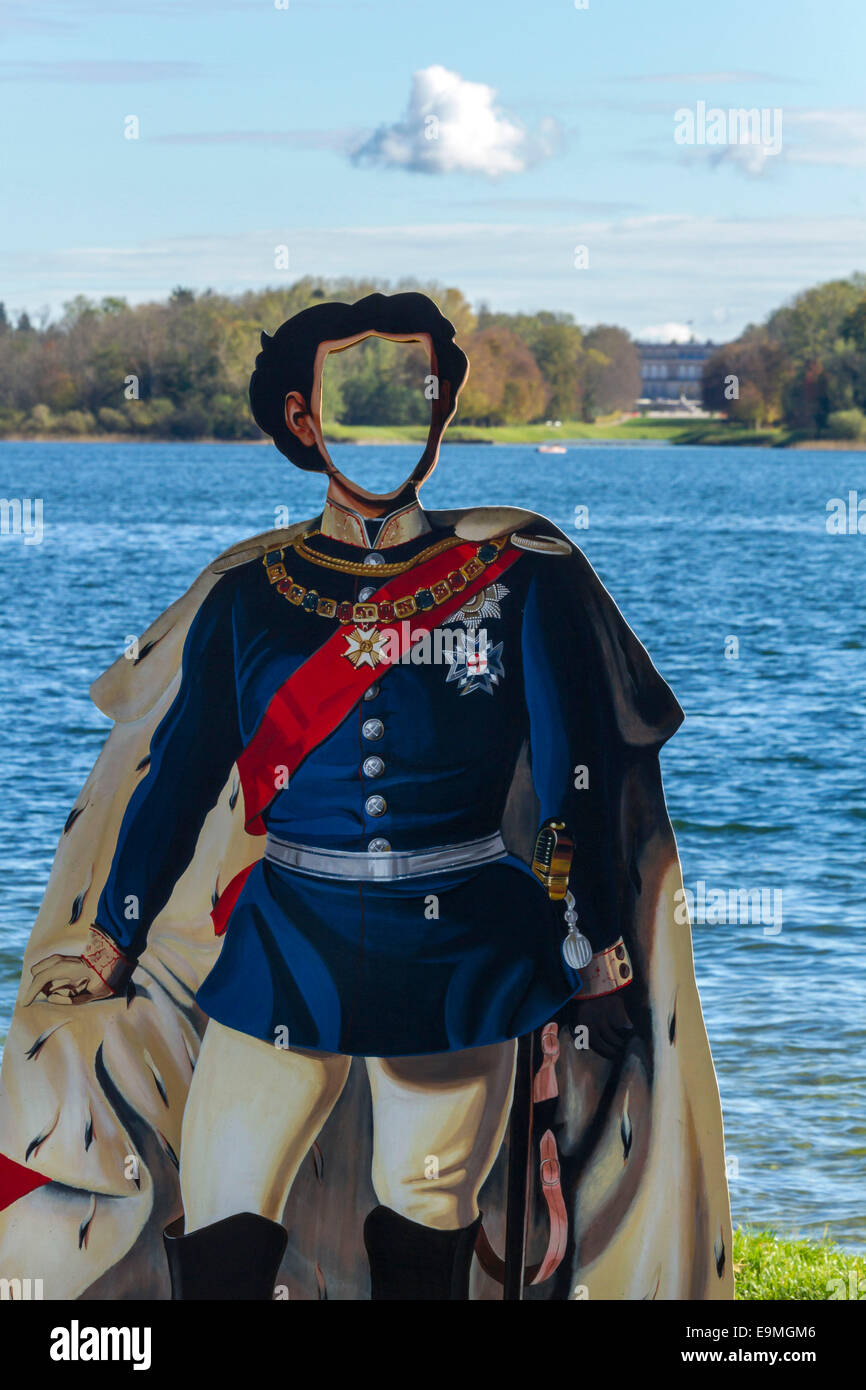 King Ludwig II Photo Cut Out Plaque with view to the Herreninsel Castle,  Chiemsee, Chiemgau, Upper Bavaria , Germany, - Stock Image