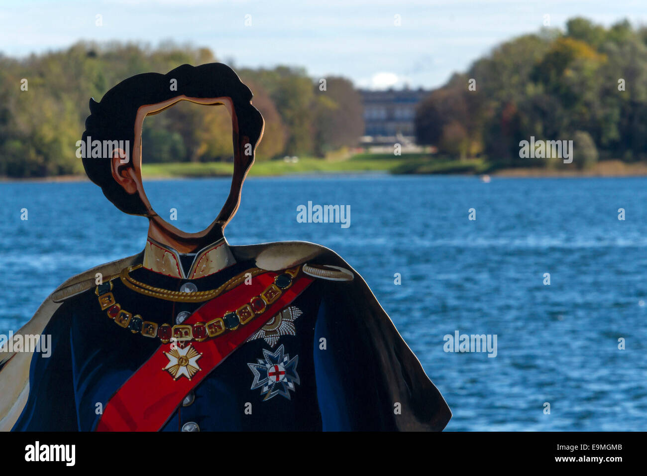 King Ludwig II Photo Cut Out Plaque with view to the Herreninsel Castle,  Chiemsee, Chiemgau, Upper Bavaria , Germany, Stock Photo